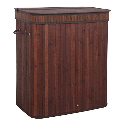 ZENY Home Divided Bamboo Laundry Basket, Double Hamper with Lid Handles and Removable Liner Two-Section Dirty Clothes Storage Sorter Rectangular w/String Handles,Dark Brown