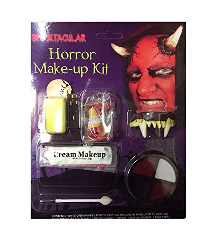 Rimi Hanger Adults Red Devil Horror Make-Up Kit Unisex Scary Face Paint Halloween Accessory One Size ()