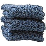 3 Denim Blue Crochet Round Dishcloth Set Long Lasting 100% Cotton