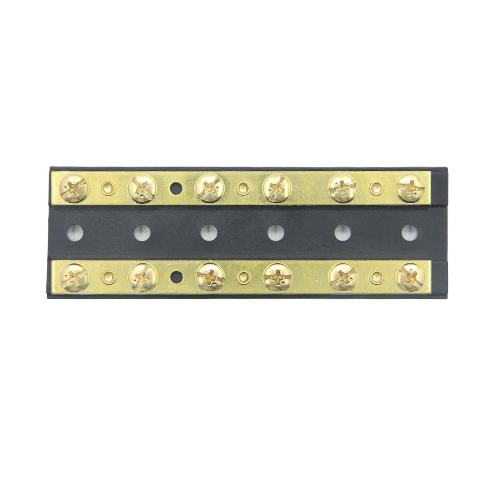 ZOOKOTO 6 Circuit Junction Block,32V DC 60A Dual Brass Bus Bar with Twelve 8-32 Screw Terminals