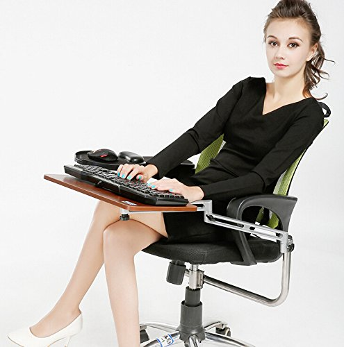 Skyzonal® Ergonomic Chair Mount Keyboard Tray Mouse Tray Walnut (Chair Not Included) (Office Chair With Tray compare prices)