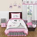 Sweet Jojo Designs 4-Piece Pink, Black and White Stripe Paris Childrens and Kids Girl Twin French Eiffel Tower Bedding Set Collection