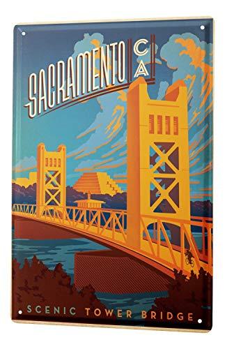Tin Sign XXL Wanderlust City Sacramento Tower Bridge Scenic