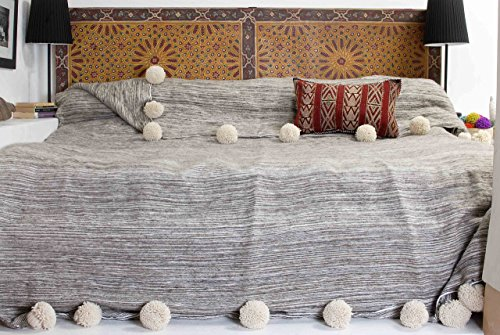 Moroccan Pom Pom Blanket Throw Bedspread, Hand woven with Pure Organic Hand Spun Wool, Cozy Warm Bedding, Ivory White & Grey. (BW9)