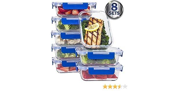 TAPAS PARA TODA LA VIDA] Premium Pack de 8 Recipiente para comida ...