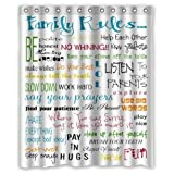 Sea Secret Family Rules Educational Waterproof Fabric Polyester Bathroom Shower Curtain with 12 Hooks 60(w) x 72(h)