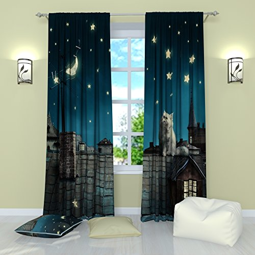 Curtains for Kids Room by Factory4me Cat in a fairy tale. Window Curtain Set of 2 Panels Each W42 x L84 inches Drapes Total W84 x L84 inches for Bedroom Living Room ()