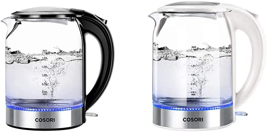 COSORI Electric (BPA-Free) Boiler Hot Water & Tea Heater Glass Kettle, 1.7L, Black & 1.7L Electric Kettle with Upgraded 100% Stainless Steel Filter,Inner Lid & Bottom, White