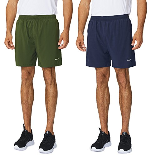Baleaf Men's Woven 5″ Running Shorts 2-Pack Army Green/Navy Size XL