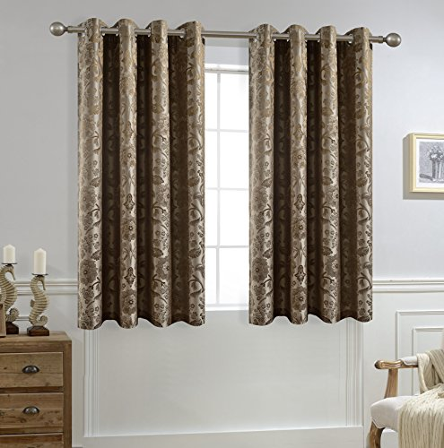Allbright Jacquard Blackout Curtains with Waterproof Coating Back Layer For Baby Room 52x 63 Inch Gold Brown,1 - Brown And Gold