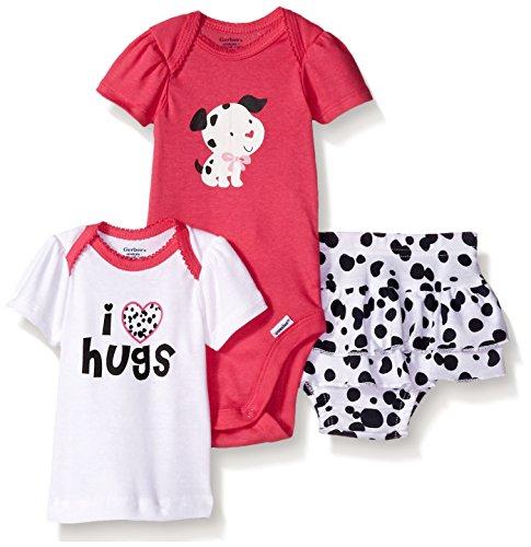 Gerber Baby Three-Piece Bodysuit Lap-Shoulder Shirt and Skort Set, Dalmatian, 24 Months -