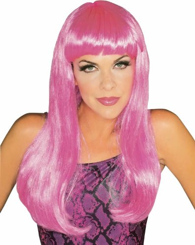 Rubie's Costume Hot Pink Glamour Wig, Hot Pink, One Size (Womens Halloween Costumes Sale)