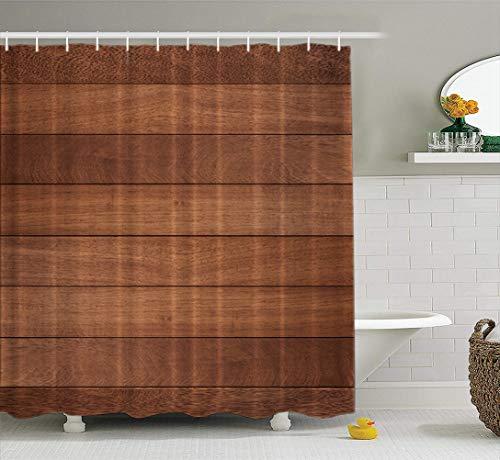 (LILYMUA Wood Fabric Bathroom Shower Curtain, Wood Brown Floor Board Timber Beautiful Walnut with Bath Curtain Hooks Polyester Shower Curtain Waterproof Bathroom Decor 72x78 Inch)