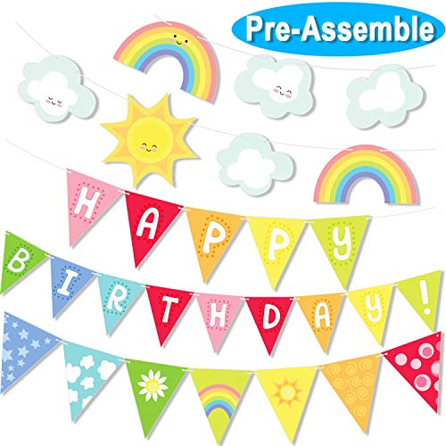 Big Sunshine Rainbow Clouds Happy Birthday Banner Party Set Color Pennants Garland for Baby Shower Birthday Decorations Bunting -