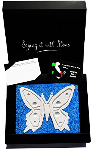 Stone Butterfly - Symbol of Good Luck, Life & Hope - Gift box & blank message card included - Lucky charm ideas - Handmade in (Good Luck Hand Symbol Charm)