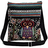 Qinfen Oilcloth Printed Embroidered Owl Tote Bag (Various Colors)