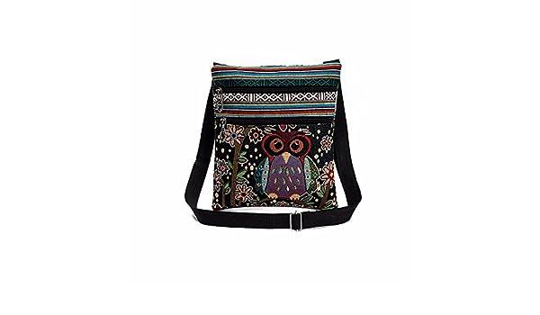 IMJONO Bordado Búho Totalizador Pantalón Mujer Hombro Bolso Bolsos de Mano Cartero Paquete: Amazon.es: Equipaje