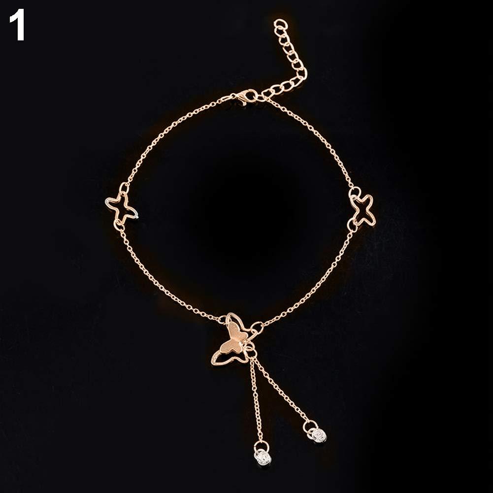osmanthusFrag Women Barefoot Sandal Beach Foot Chain Butterfly Charm Anklet Bracelet