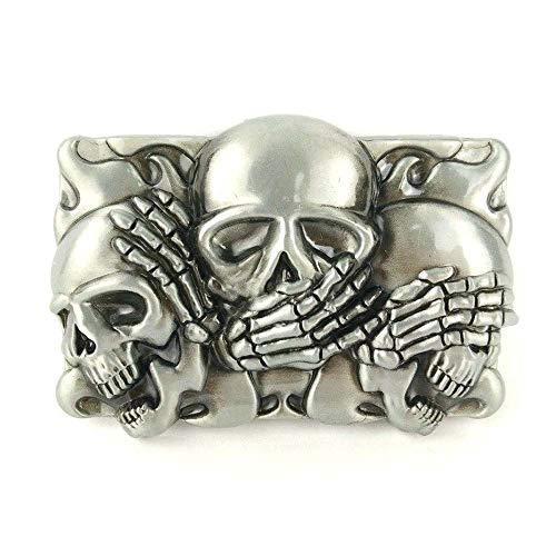 (Western cowboy belt buckle for belt accessories Custom buckle (Three Skull)