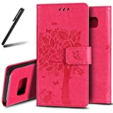 Galaxy S8 Plus Stand Case,Samsung Galaxy S8 Plus Wallet Case,Galaxy S8 Plus 2017 PU Leather Case,SKYMARS Cat Tree Embossed PU Leather Flip Kickstand Cards Slot Cash Pockets Wallet Magnetic Closure Book Style Case for Samsung Galaxy S8 Plus 2017 Tree Rose
