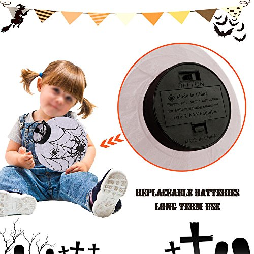 Diy Scarecrow Costume Hat ([White] New Halloween LED Paper Pumpkin Hanging Lantern DIY Holiday Party Decor Scary)