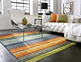 colorful area rugs Mohawk Home New Wave Rainbow Striped Printed Area Rug, 5'x8', Multicolor