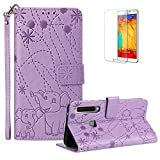 Funyye Case for Samsung Galaxy A9 2018 [Free Screen Protector],Luxury Cute Elephant Pattern Magnetic Flip Wallet Cards Slots with Money Holder Soft Silicone Case for Samsung Galaxy A9 2018,Purple