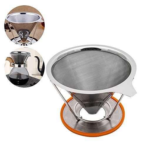TOPHOMER Pour Over Coffee Cone Dripper - Stainless Steel Coffee Maker - Double Mesh Reusable Filter - Single Cup Coffee Brewer - No Need For Paper - with Cup Stand Coffee Maker&Brewer by TOP-MAX