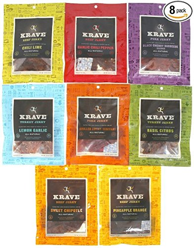KRAVE Jerky Variety Pack, 3.25-Ounce Bags, Pack of 8 (Chili Lime Crackers compare prices)