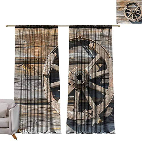 DuckBaby Room Darkened Heat Insulation Curtain Barn Wood Wagon Wheel Old Log Wall with Cartwheel Telega Rural Countryside Themed Image Thermal Insulated Tie Up Curtain W96 xL84 Umber Beige (Wagon Cartwheels Classic)