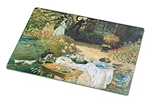 Rikki Knight RK-LGCB-3527 Claude Monet Art Breakfast Glass Cutting Board, Large, White