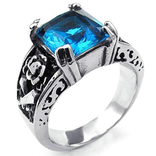 8b905514160c Chic Beydodo Anillo de Hombre Acero Inoxidable Anillo Forma Cuadrada Anillo  Azul Plata Anillo Para Hombre
