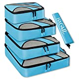 BAGAIL 4 Set Packing Cubes,Travel Luggage Packing Organizers with Laundry Bag Blue