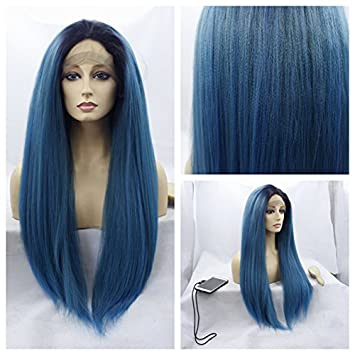 MHAZEL Long Yaki Ombre Mixed Blue Color Synthetic Heat Resistant Fiber Glueless Lace Front Wigs (