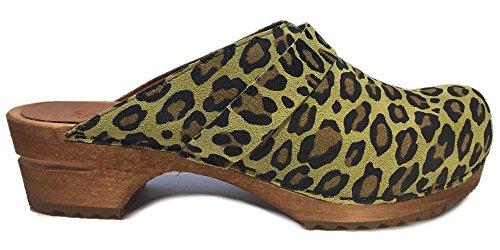 pelle limone scamosciata leopardo con 453699 Zoccoli stampa leopardo verde Sanita in in WU7xHa