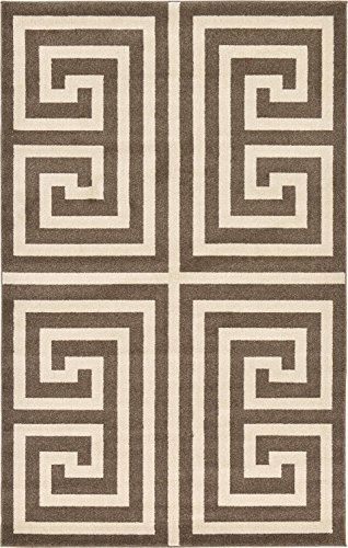 A2Z Rug Modern Contemporary Area Rug Geometric Brown 5′ x 8′ FT Santorini Collection Rugs – rugs for living room – rugs for dining room & bedroom – Floor Carpet