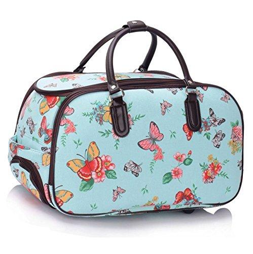 Bolsa de viaje, equipaje de mano para mujer, con ruedas para llevar como carrito azul