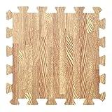 E.life 4-Tile 3x30cm EVA Puzzle Exercise Interlocking Wood Pattern Foam Mats for Toddlers - Wood Grain Yoga Floor Rug Blanket Playmats Safety for Office Decor Hardfloor (Light Grain-01)