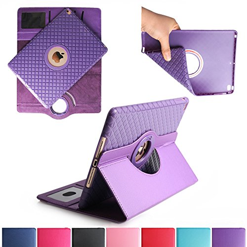 BoriYuan iPad 4&3&2 360 Degree Rotating Stand PU Leather Case Protective Flip Folio Detachable Soft Rubber Cover For Apple iPad 4/ iPad 3/ iPad 2 with Card Slot+Screen Protector+Stylus