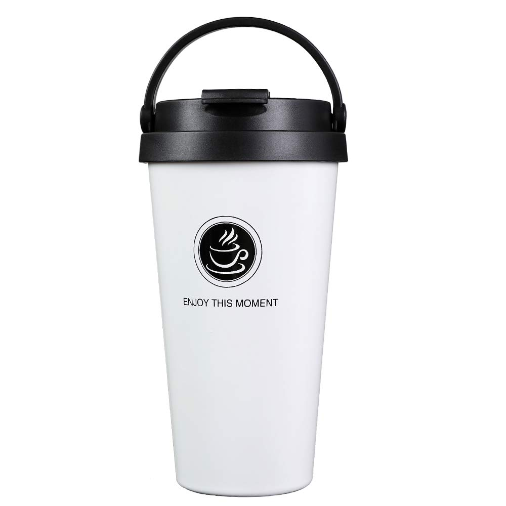 Octto Classic 17oz Coffee Cup, Coffee Mug with Quick Seal Spill Stopper, Reusable Eco-friendly Coffee Cup,Double Stainless Steel Matte Texture, No Scald Hand. (White)