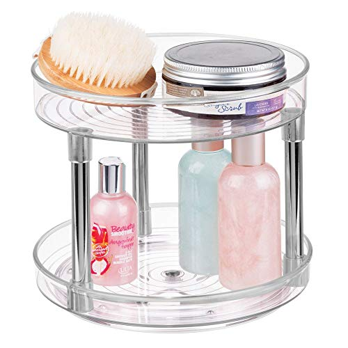 mDesign Plastic Spinning 2 Level Lazy Susan Turntable Storage Tray - Rotating Organizer for Bathroom Vanity Counter Tops, Under Sink, Closets, Dressers - 9