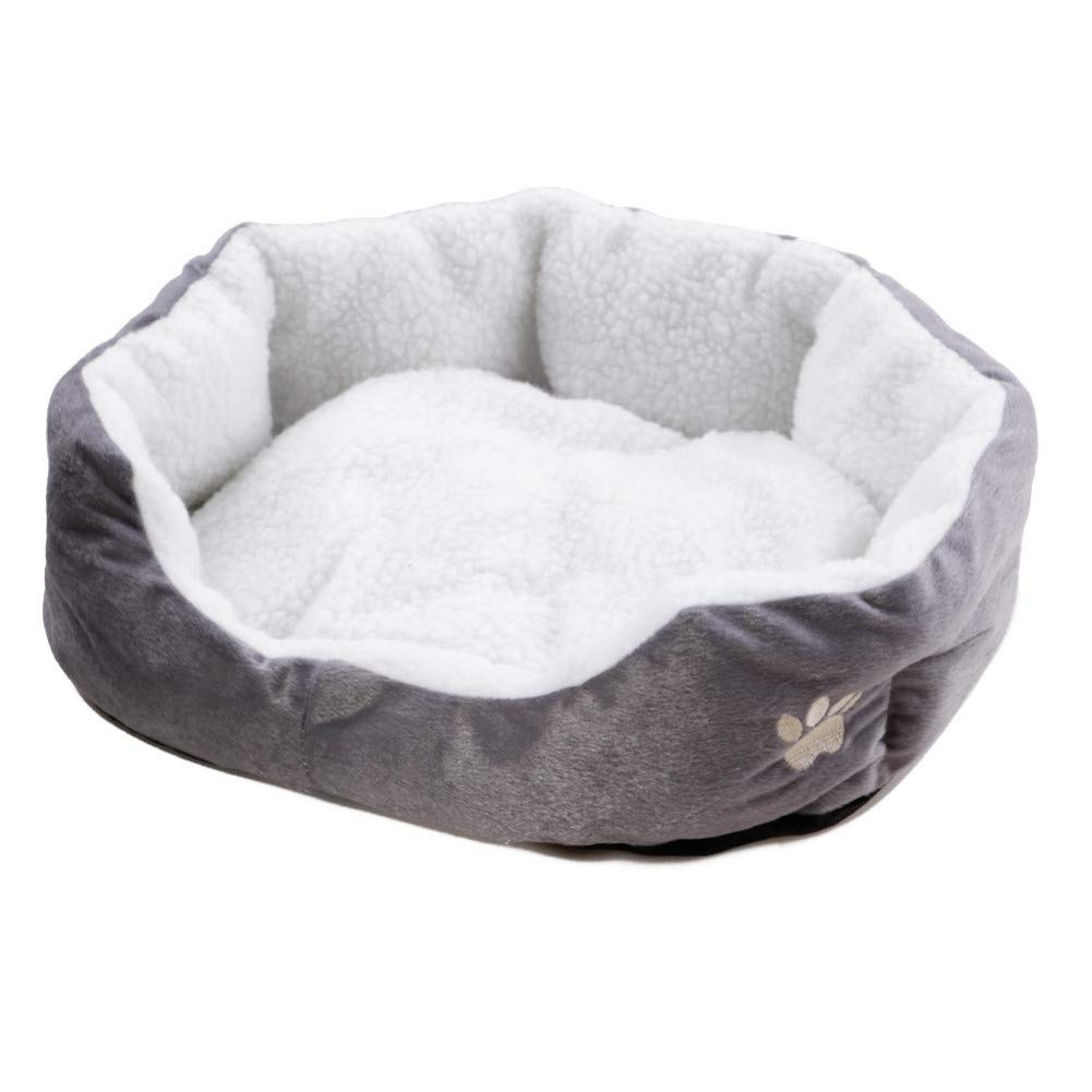 Grey M 42x39x14cm CZHCFF Bed for cats Small dog 7 colors dog Basket for cats Coral plush sofa Cats bed Cats for dogs