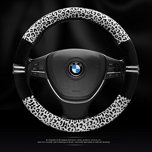 Car Leopard Print Steering Wheel Covers Fuzzy Velvet and Carbon Fiber Automotive Interior Protection Anti Slip Wrap Universal Fit for 15 inch (White&Black)