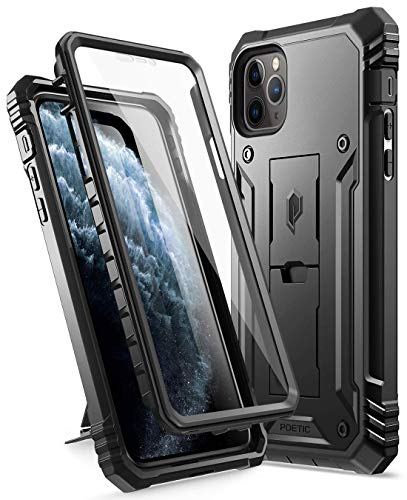 iPhone 11 Pro Max Case, Poetic Full-Body Dual-Layer Shockproof Rugged Protective Cover with Kickstand, Built-in-Screen Protector, Revolution Series, for Apple iPhone 11 Pro Max (2019) 6.5 Inch, Black