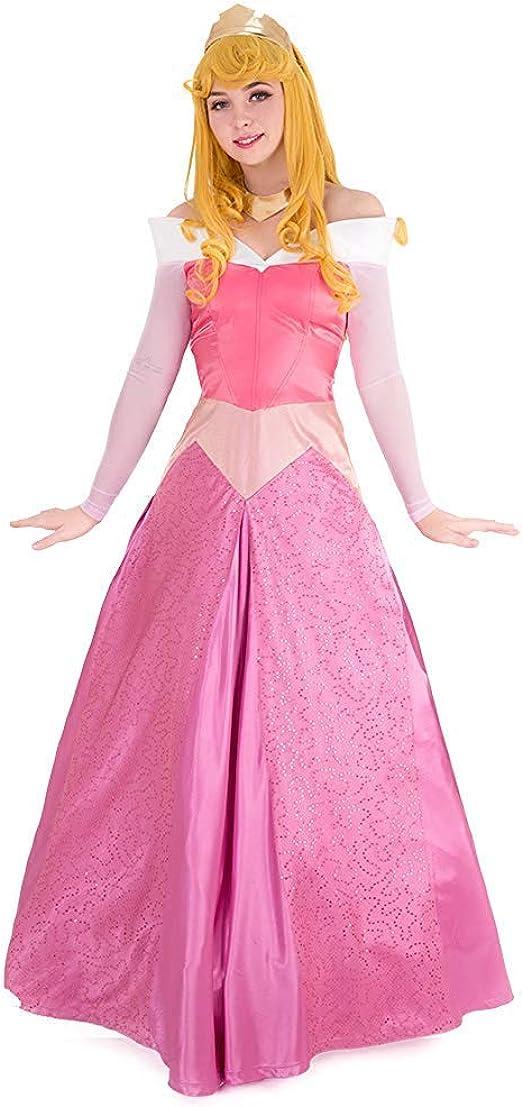 Cosplay.fm Aurora - Disfraz de Rosa con Corona para Mujer - Rosa ...