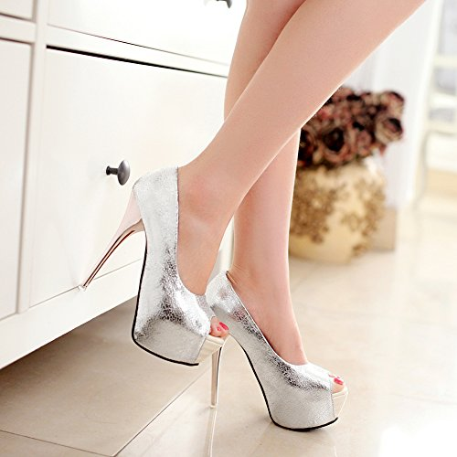 Fereshte Plataforma Mujer Super High Stiletto Heels Sandalias Slip-on Peep-toe Bombas Para Fiesta De Bodas De Plata