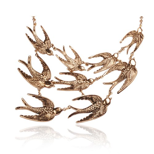 JANE STONE Vintage Swallow Fashion Collar Necklace Bib Statement Jewelry for Women ()