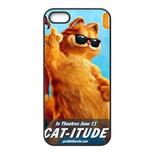 Garfield 003 coque iPhone 5 5S cellulaire cas coque de téléphone cas téléphone cellulaire noir couvercle EOKXLLNCD23838