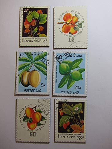 (Fruit Magnets - Recycled Postage Stamps from Hungary, Russia and Laos )
