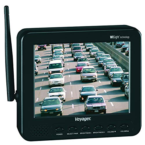 Voyager WVOS541 four Camera Enabled Digital Wireless Observation System with 5.6' color LCD monitor, connect up to 4 wireless cameras and 1 wired camera, build-in microphone, 960 x 234 Resolution